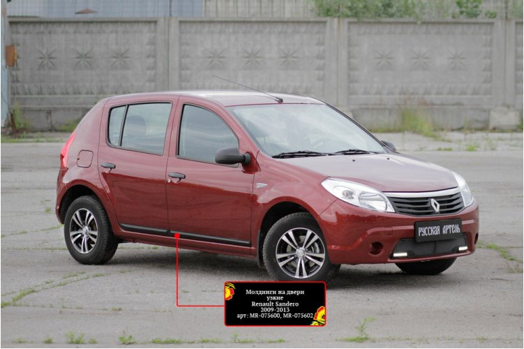 Молдинги для дверей (Вар.2) Renault Sandero 2009-