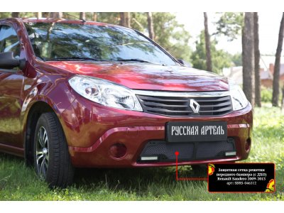 Пластиковая сетка бампера (с ДХО) Renault Sandero 2009-