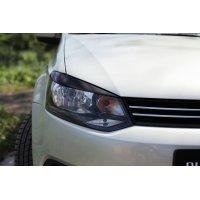 Накладки на фары №2 (реснички) Volkswagen Polo 2009-