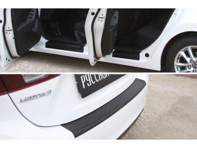 Комплект (накладки на пороги и бампер) Mazda 3 седан (3-ий дорестайлинг)