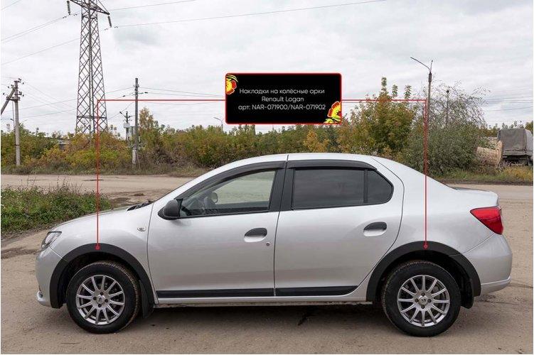 Защитные накладки на колёсные арки Renault Logan 2018-