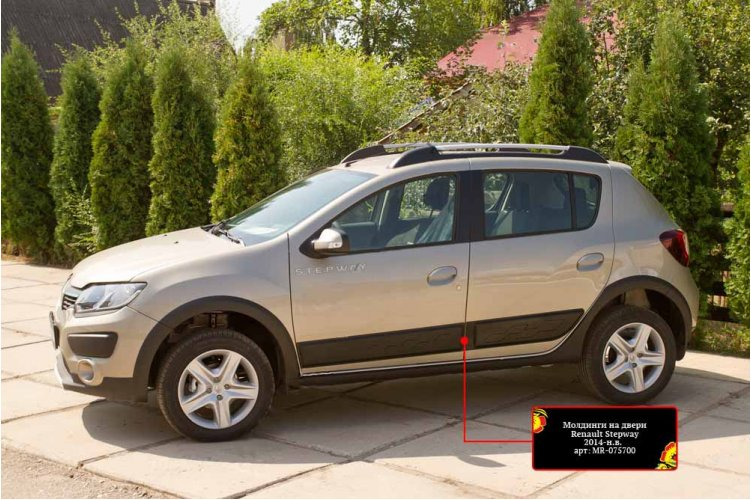 Молдинги на двери Renault Sandero 2014-