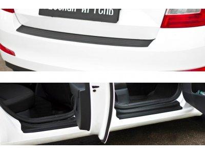 Защитный комплект (накладки на пороги и бампер) Skoda Octavia A7 2014-2017